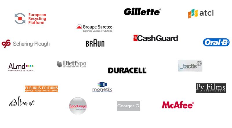 ERP France,Gillette,Groupe Saretec,Braun,Schering-Plough,Oral-B,ATCI Consulting,ALMD,Dietispa,Duracell,Tactis,McAfee,Monetik,Py Films,Spadunya,Editions Fleurus,Altearah Bio
